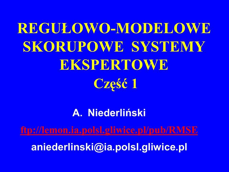 A.Niederliński ftp://lemon.ia.polsl.gliwice.pl/pub/RMSE aniederlinski@ia.polsl.gliwice.pl REGUŁOWO-MODELOWE SKORUPOWE SYSTEMY EKSPERTOWE Część 1