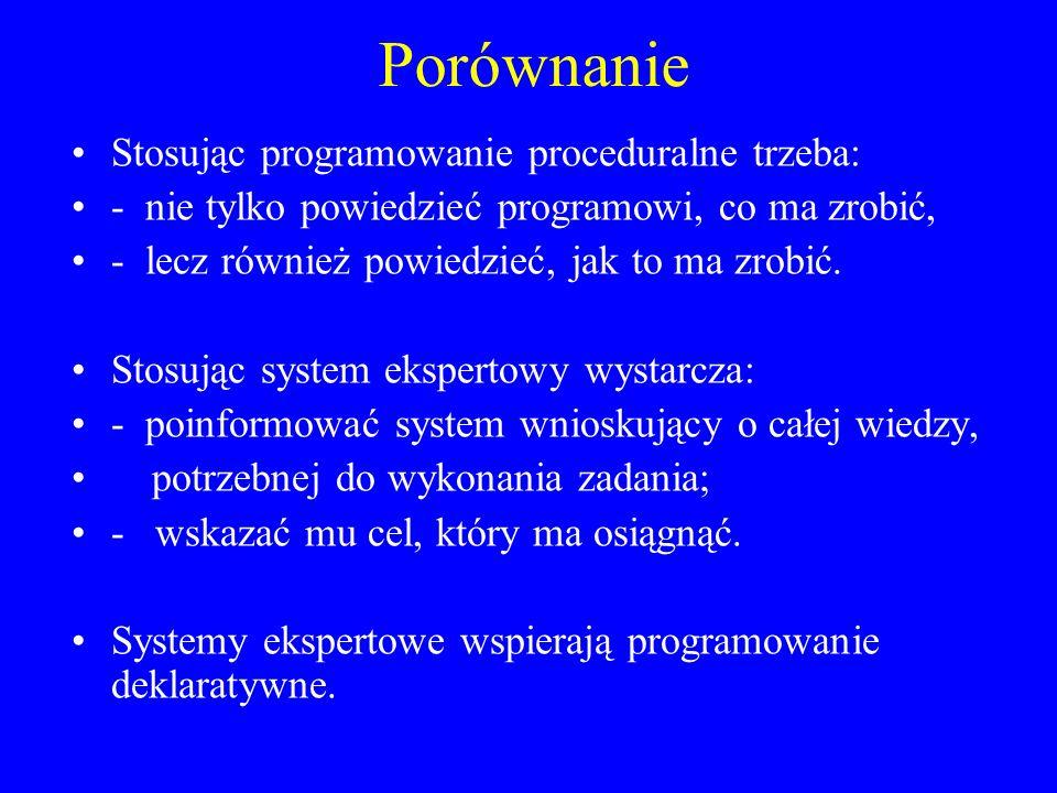 Porównanie Stosując programowanie proceduralne trzeba: - nie tylko powiedzieć programowi, co ma zrobić, - lecz również powiedzieć, jak to ma zrobić. S
