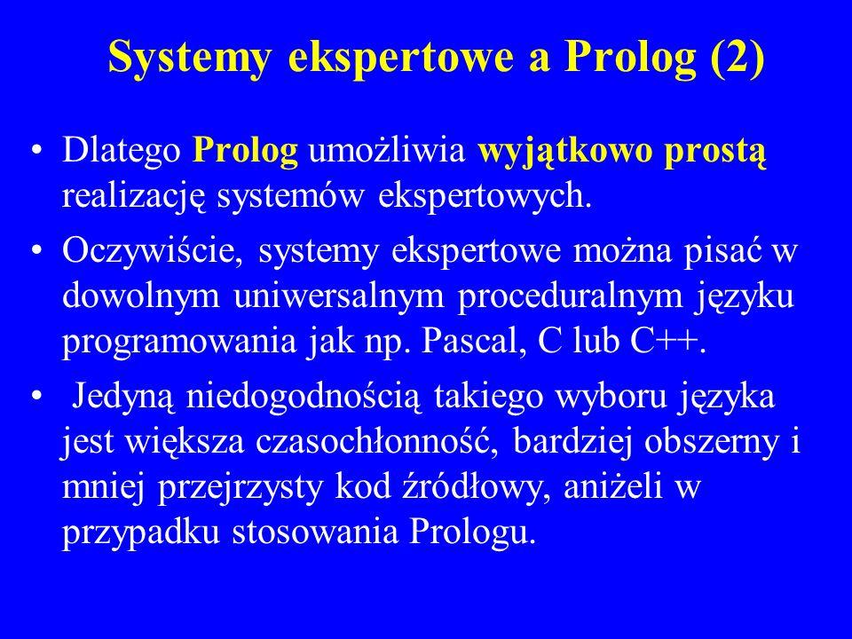Systemy ekspertowe a Prolog (2) Dlatego Prolog umożliwia wyjątkowo prostą realizację systemów ekspertowych. Oczywiście, systemy ekspertowe można pisać