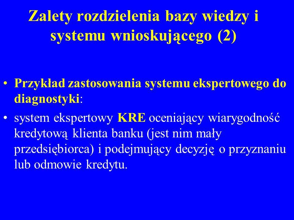 Zalety rozdzielenia bazy wiedzy i systemu wnioskującego (2) Przykład zastosowania systemu ekspertowego do diagnostyki: system ekspertowy KRE oceniając