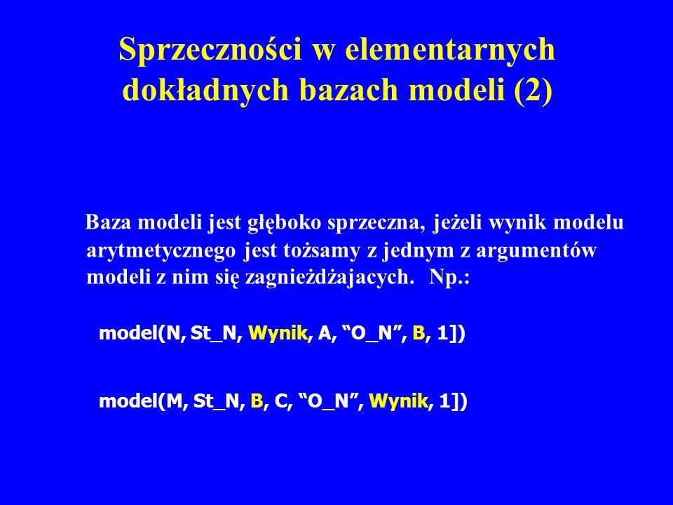 Sprzeczności w elementarnych dokładnych bazach modeli (2) Baza modeli jest głęboko sprzeczna, jeżeli wynik modelu arytmetycznego jest tożsamy z jednym