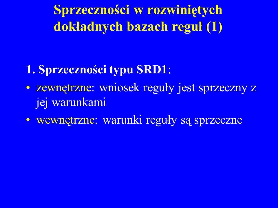 Sprzeczności w rozwiniętych dokładnych bazach reguł (1) 1. Sprzeczności typu SRD1: zewnętrzne: wniosek reguły jest sprzeczny z jej warunkami wewnętrzn