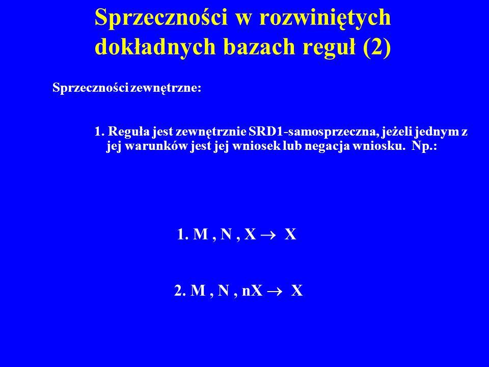 Sprzeczności w rozwiniętych dokładnych bazach reguł (2) 1. Reguła jest zewnętrznie SRD1-samosprzeczna, jeżeli jednym z jej warunków jest jej wniosek l