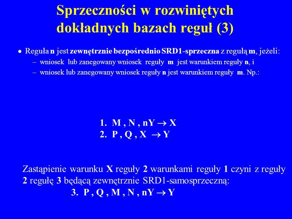 Sprzeczności w rozwiniętych dokładnych bazach reguł (3) Reguła n jest zewnętrznie bezpośrednio SRD1-sprzeczna z regułą m, jeżeli: –wniosek lub zanegow