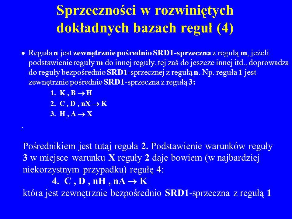Sprzeczności w rozwiniętych dokładnych bazach reguł (4) Reguła n jest zewnętrznie pośrednio SRD1-sprzeczna z regułą m, jeżeli podstawienie reguły m do