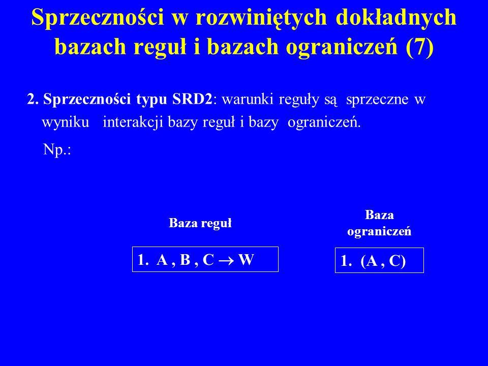 Sprzeczności w rozwiniętych dokładnych bazach reguł i bazach ograniczeń (7) 2. Sprzeczności typu SRD2: warunki reguły są sprzeczne w wyniku interakcji