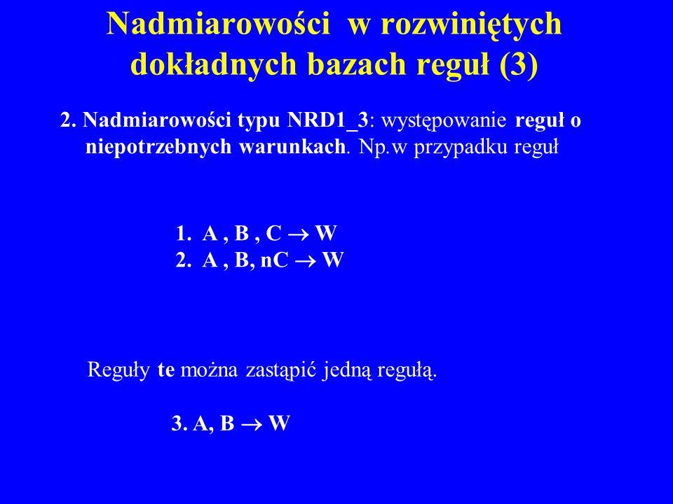 Nadmiarowości w rozwiniętych dokładnych bazach reguł (3) 2. Nadmiarowości typu NRD1_3: występowanie reguł o niepotrzebnych warunkach. Np.w przypadku r