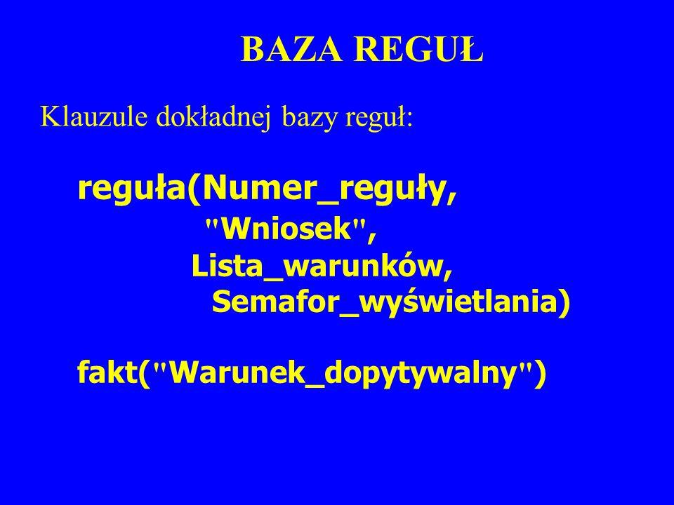 BAZA REGUŁ reguła(Numer_reguły,