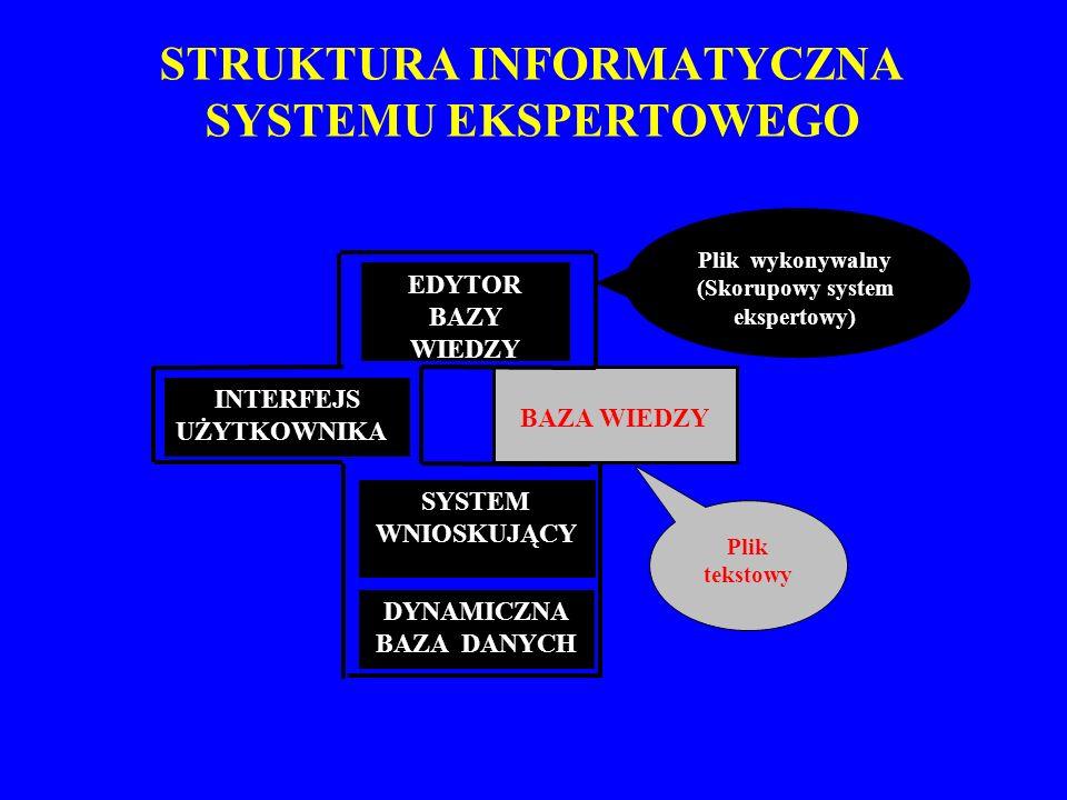 STRUKTURA INFORMATYCZNA SYSTEMU EKSPERTOWEGO INTERFEJS UŻYTKOWNIKA EDYTOR BAZY WIEDZY DYNAMICZNA BAZA DANYCH SYSTEM WNIOSKUJĄCY BAZA WIEDZY Plik wykon