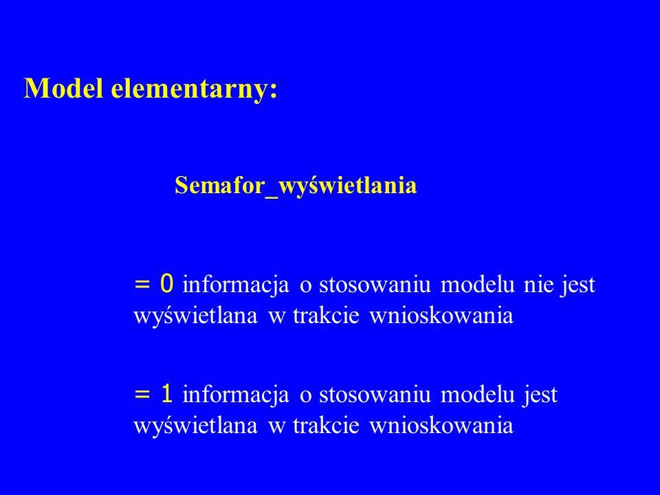 Model elementarny: Semafor_wyświetlania = 0 informacja o stosowaniu modelu nie jest wyświetlana w trakcie wnioskowania = 1 informacja o stosowaniu mod