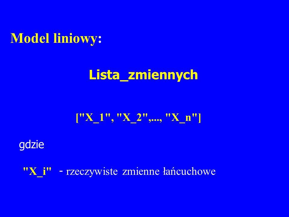 Model liniowy: Lista_zmiennych [
