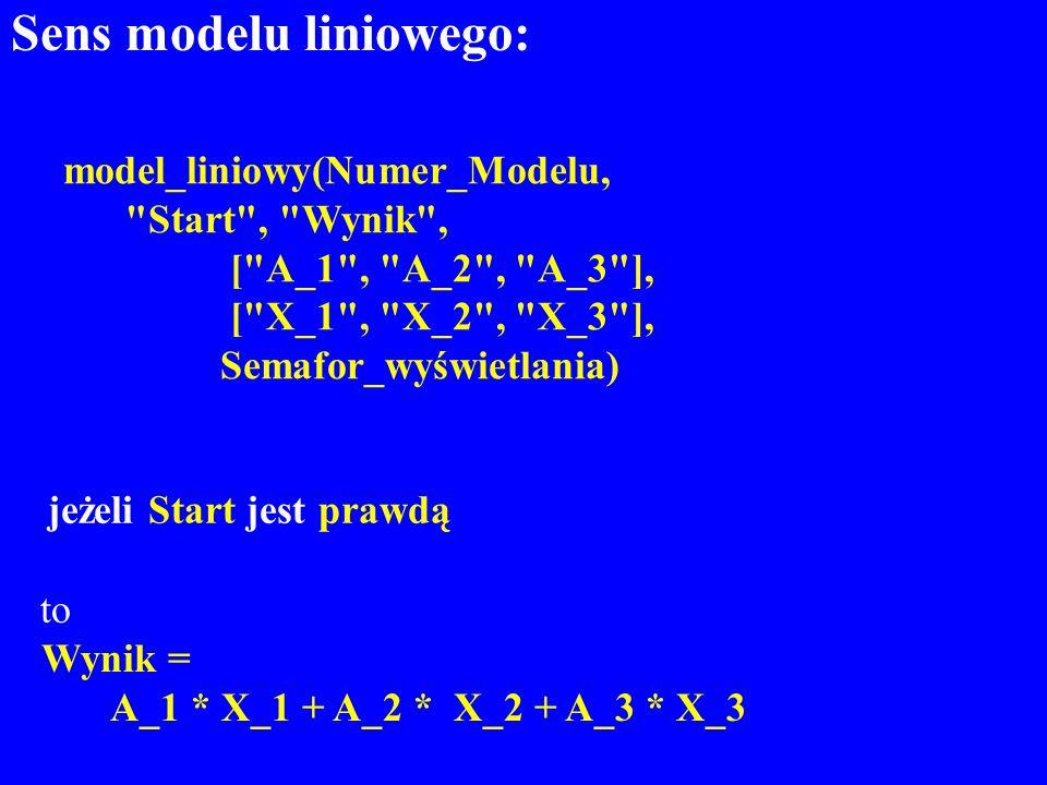 Sens modelu liniowego: to Wynik = A_1 * X_1 + A_2 * X_2 + A_3 * X_3 model_liniowy(Numer_Modelu,