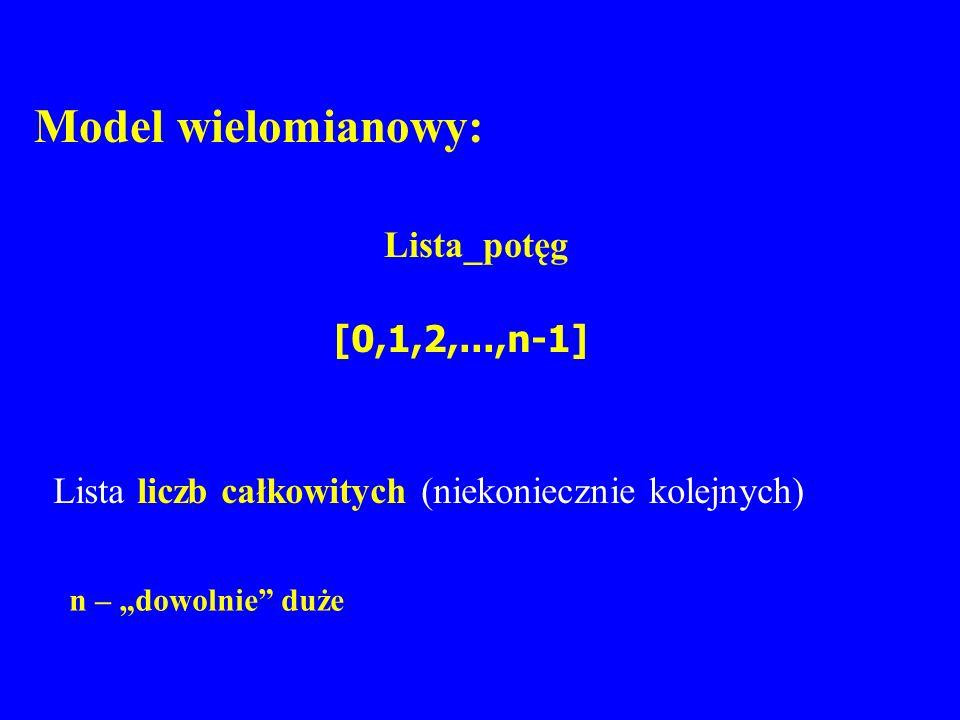 Model wielomianowy: Lista_potęg [0,1,2,...,n-1] n – dowolnie duże Lista liczb całkowitych (niekoniecznie kolejnych)