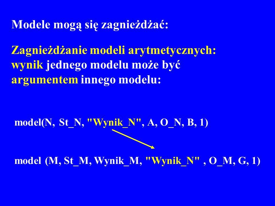 Modele mogą się zagnieżdżać: Zagnieżdżanie modeli arytmetycznych: wynik jednego modelu może być argumentem innego modelu: model(N, St_N,