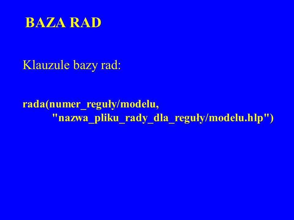 BAZA RAD rada(numer_reguły/modelu,