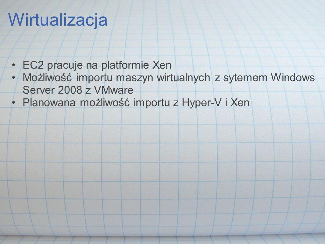Wirtualizacja EC2 pracuje na platformie Xen Możliwość importu maszyn wirtualnych z sytemem Windows Server 2008 z VMware Planowana możliwość importu z