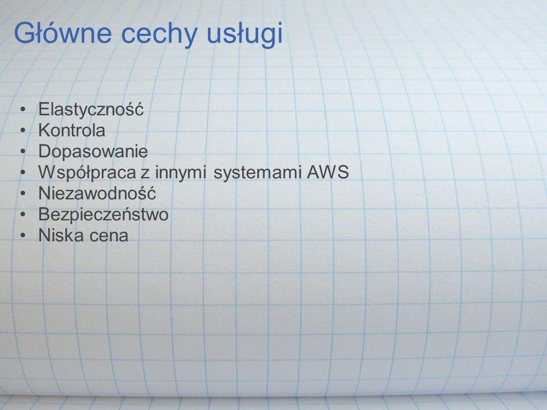 Główne cechy usługi Elastyczność Kontrola Dopasowanie Współpraca z innymi systemami AWS Niezawodność Bezpieczeństwo Niska cena