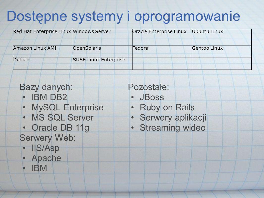 Dostępne systemy i oprogramowanie Bazy danych: IBM DB2 MySQL Enterprise MS SQL Server Oracle DB 11g Serwery Web: IIS/Asp Apache IBM Pozostałe: JBoss R