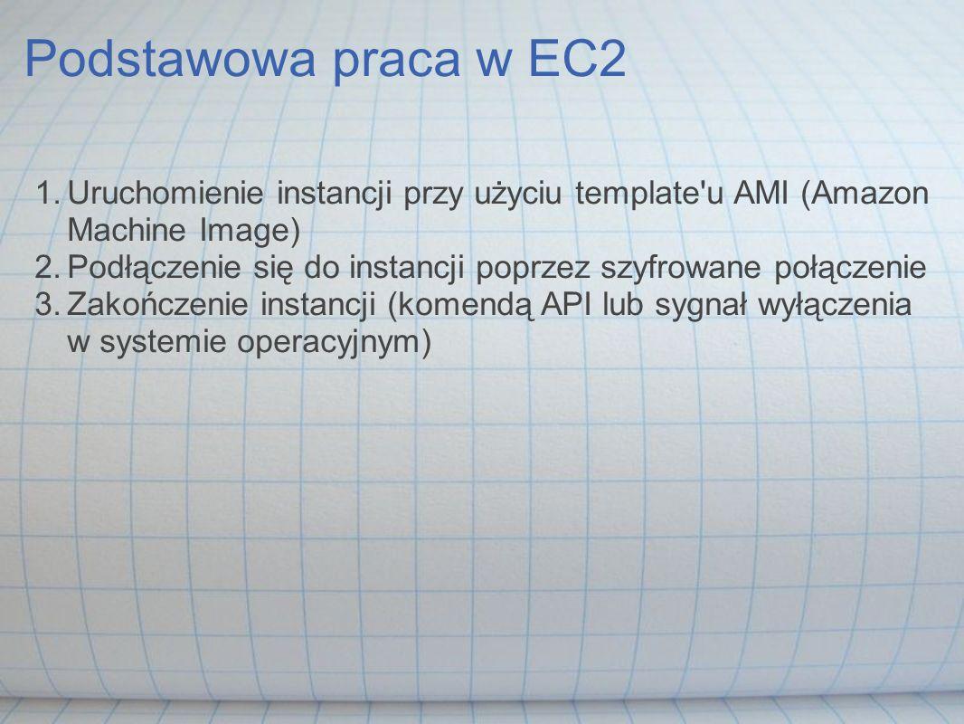 Podstawowa praca w EC2 1.Uruchomienie instancji przy użyciu template'u AMI (Amazon Machine Image) 2.Podłączenie się do instancji poprzez szyfrowane po