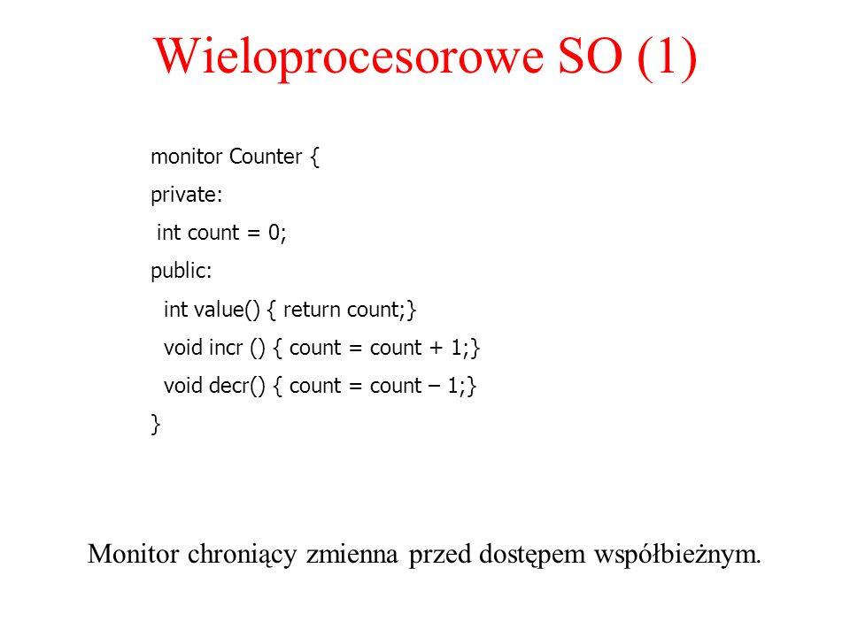 Wieloprocesorowe SO (1) Monitor chroniący zmienna przed dostępem współbieżnym. monitor Counter { private: int count = 0; public: int value() { return