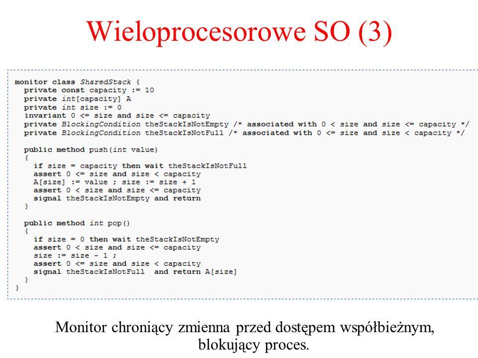 Wieloprocesorowe SO (3) Monitor chroniący zmienna przed dostępem współbieżnym, blokujący proces. monitor Counter { private: int count = 0; int blocked