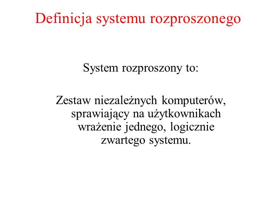 Definicja systemu rozproszonego System rozproszony to: Zestaw niezależnych komputerów, sprawiający na użytkownikach wrażenie jednego, logicznie zwarte