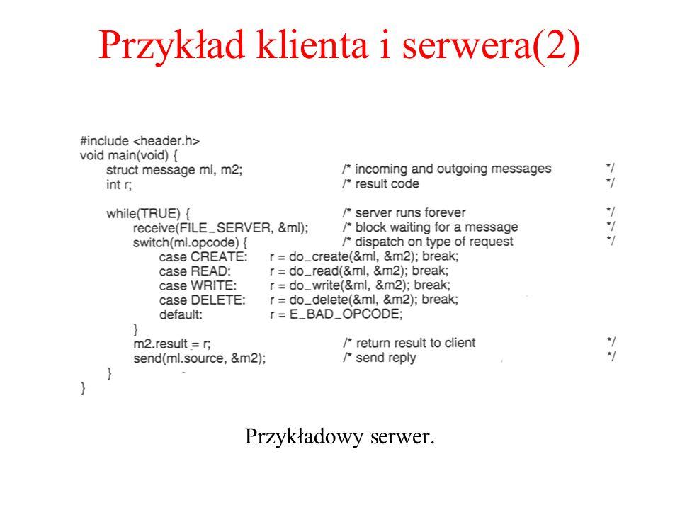 Przykład klienta i serwera(2) Przykładowy serwer.