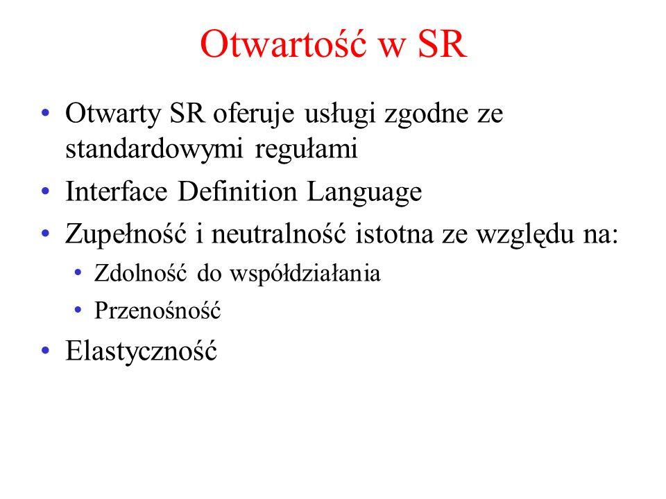 Otwartość w SR Otwarty SR oferuje usługi zgodne ze standardowymi regułami Interface Definition Language Zupełność i neutralność istotna ze względu na: