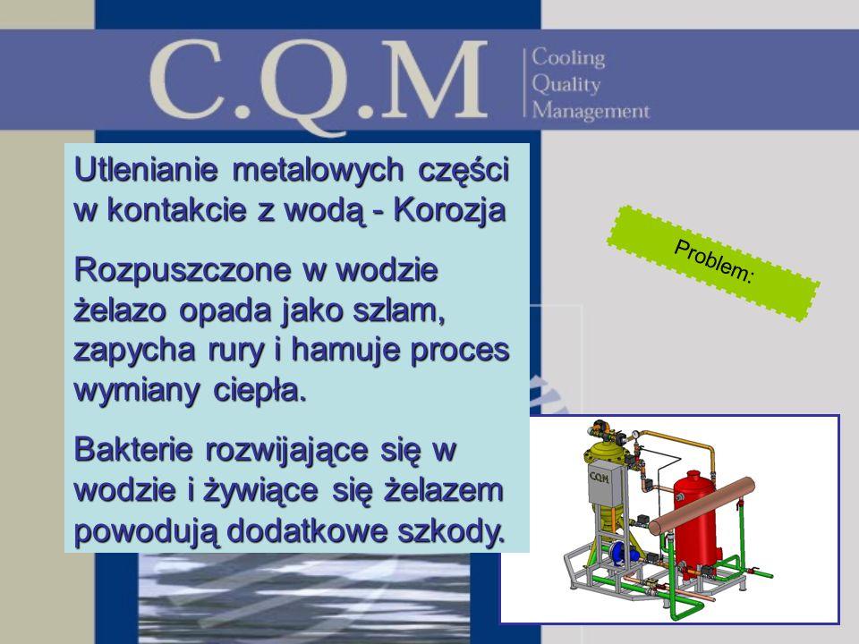 Utlenianie metalowych części w kontakcie z wodą - Korozja Rozpuszczone w wodzie żelazo opada jako szlam, zapycha rury i hamuje proces wymiany ciepła.