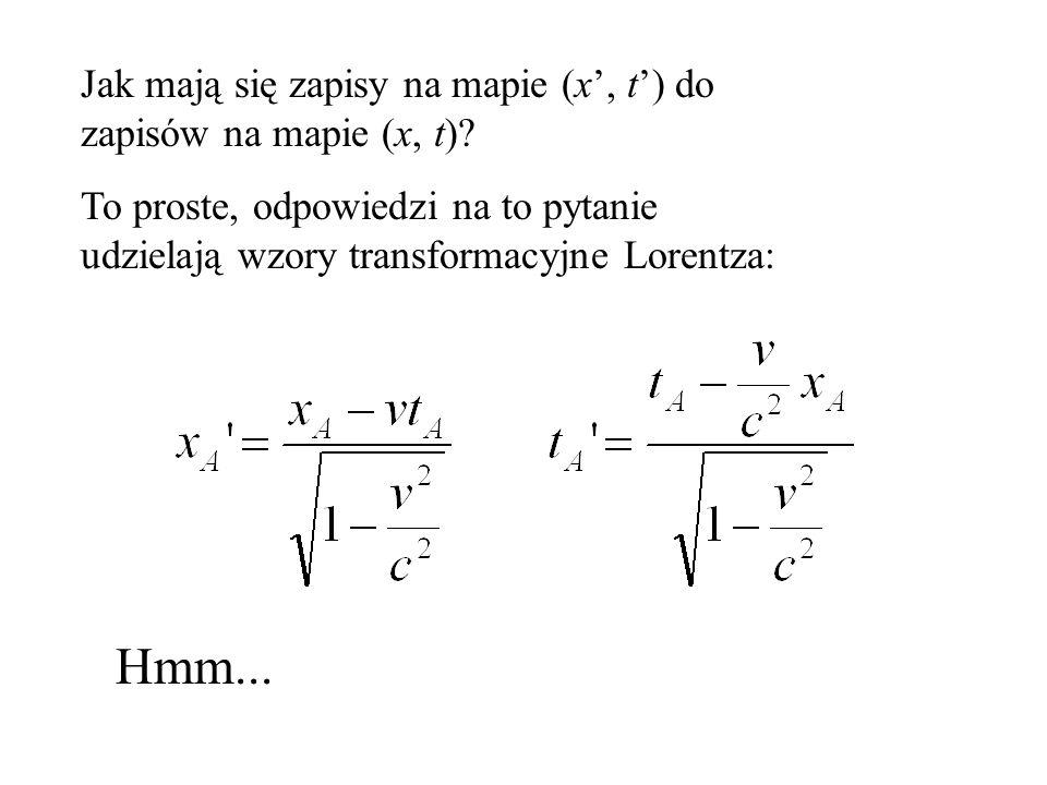 x' t' MAPA CZASOTRZESTRZENI sporządzona przez obserwatorów z układu (x,t) Zdarzenie A x' A t' A (xA,tA)(xA,tA)
