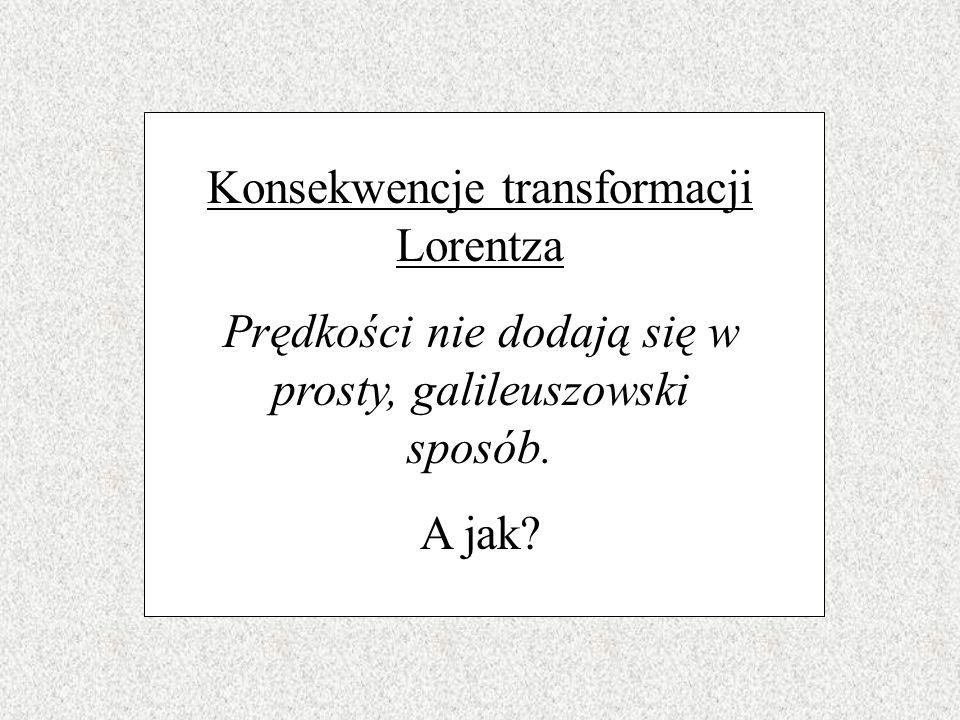 Konsekwencje transformacji Lorentza Poruszające się zegary tykają rzadziej. Sprawdźcie sami...