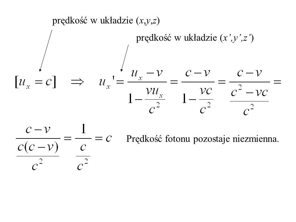 x y z y' z' x' v c Zobaczmy, ile wynosi prędkość fotonu w poruszającym się układzie odniesienia