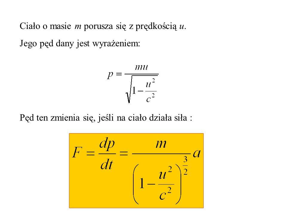 Konsekwencje transformacji Lorentza Związek między siłą i przyspieszeniem dany jest różnym od klasycznego wyrażeniem.