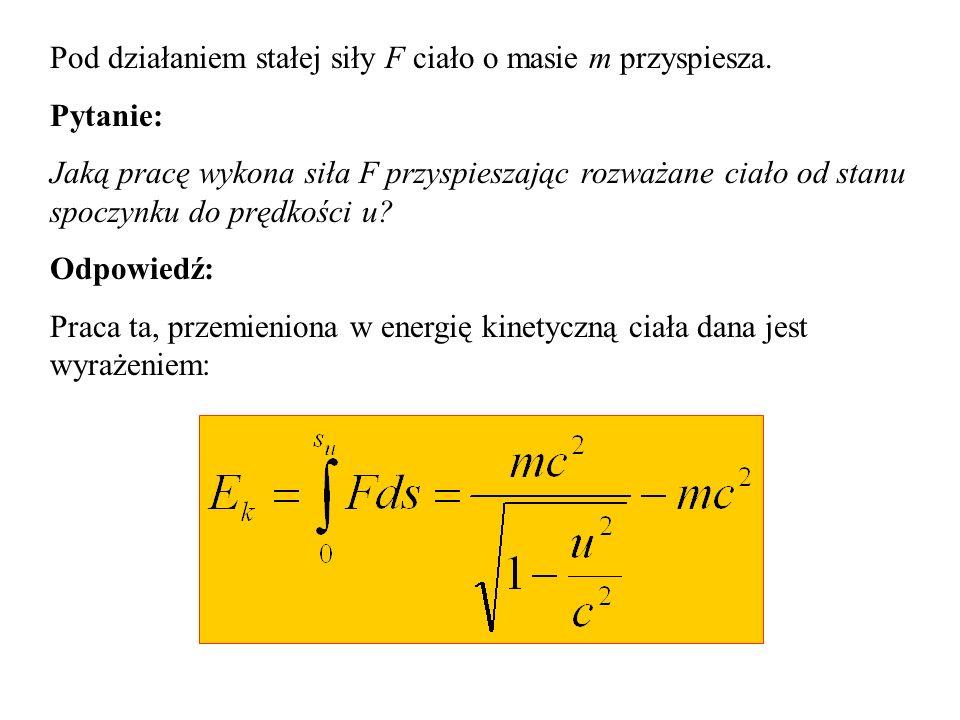 Konsekwencje transformacji Lorentza Inaczej też wygląda wyrażenie na energię kinetyczną.