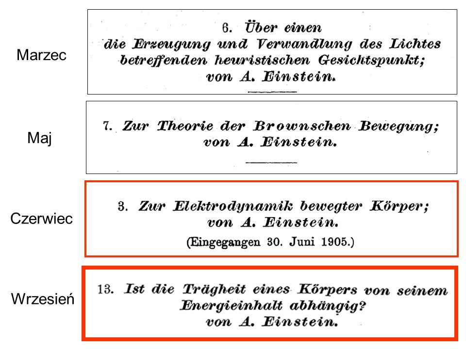 Uwspółcześniona wersja rozumowania, które Einstein opisał w swej pracy opublikowanej we wrześniu 1905 roku.