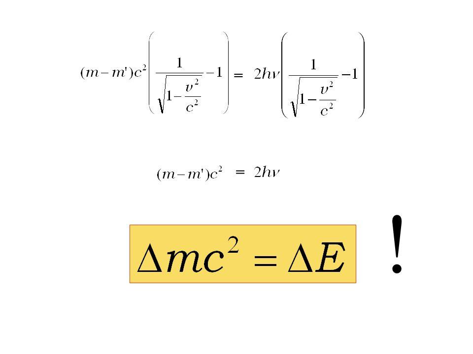 ++ = - - = = Napiszmy równanie opisujące bilans energii, i poszukajmy wynikającą z niego różnicę mas m i m :