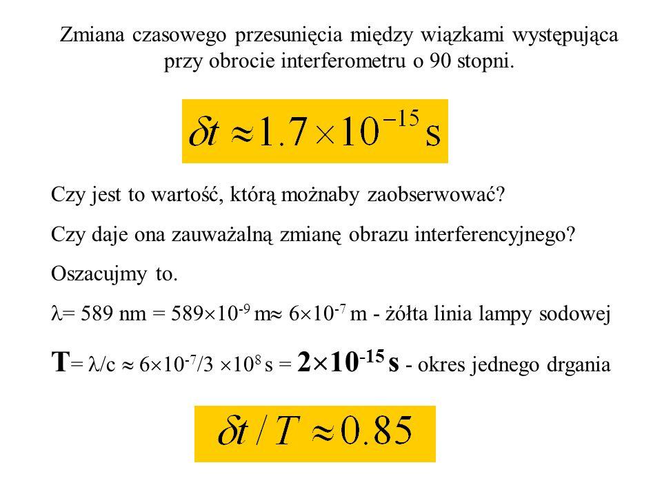 Zmiana czasowego przesunięcia między wiązkami występująca przy obrocie interferometru o 90 stopni. Oszacujmy wartość t 2L 50 m - droga przebyta w inte