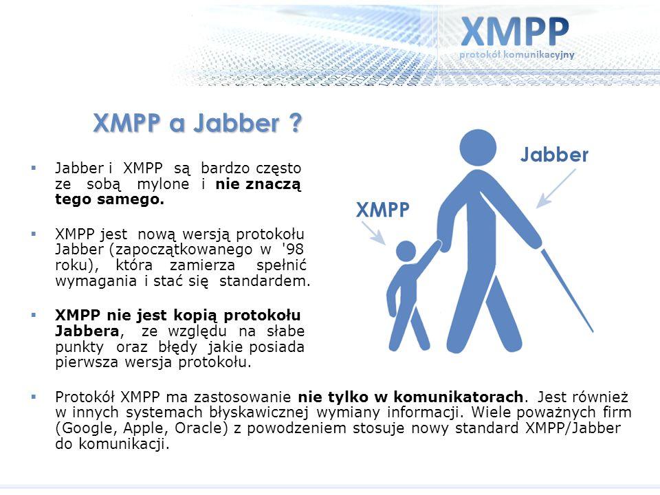 XMPP a Jabber ? Jabber i XMPP są bardzo często ze sobą mylone i nie znaczą tego samego. XMPP jest nową wersją protokołu Jabber (zapoczątkowanego w '98