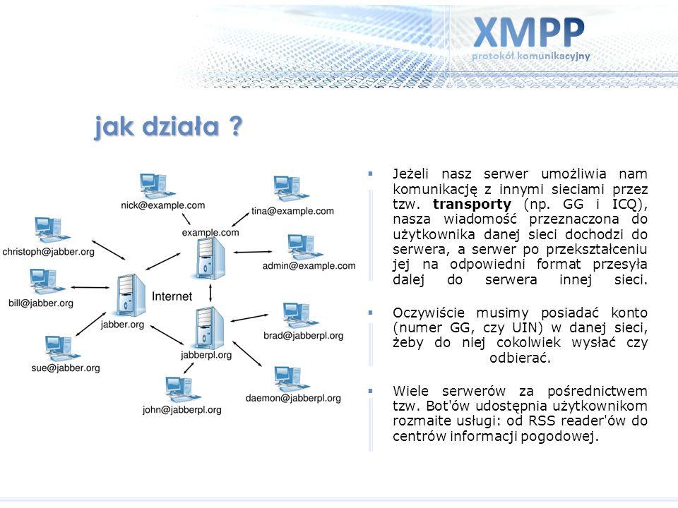 jak działa ? Jeżeli nasz serwer umożliwia nam komunikację z innymi sieciami przez tzw. transporty (np. GG i ICQ), nasza wiadomość przeznaczona do użyt