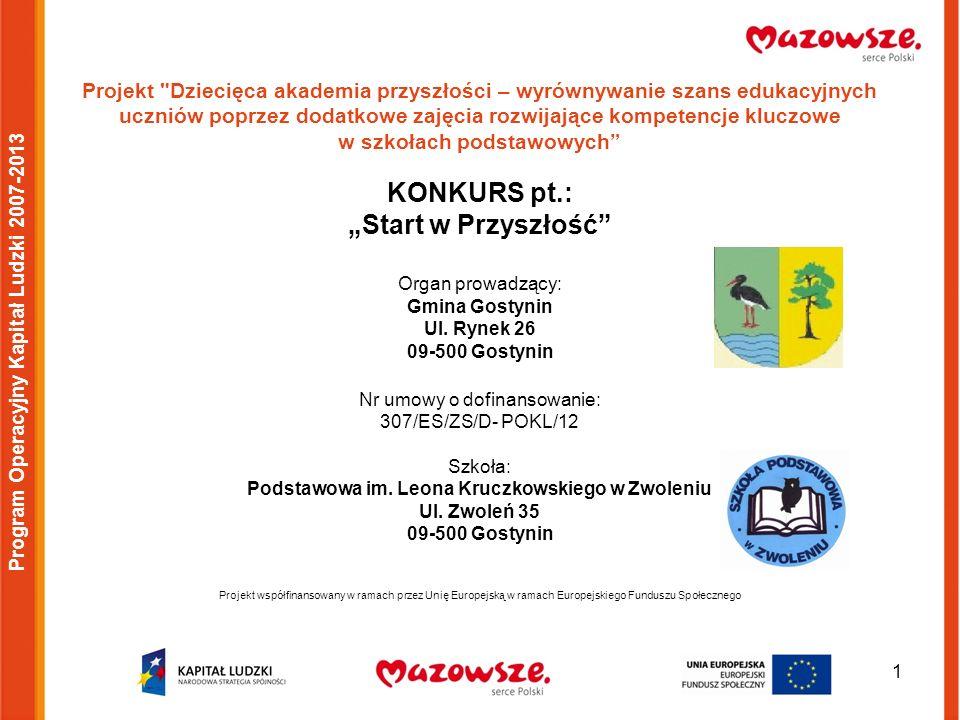 2 Program Operacyjny Kapitał Ludzki 2007-2013 W badmintona grajcie, zdrowie i zainteresowania rozwijajcie.