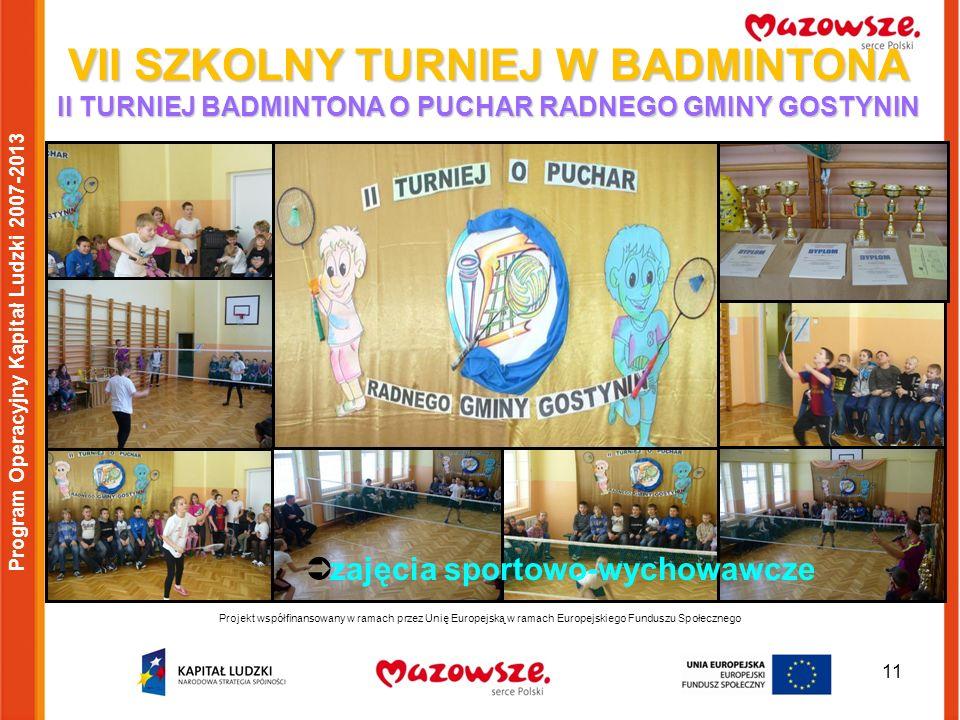 11 Projekt współfinansowany w ramach przez Unię Europejską w ramach Europejskiego Funduszu Społecznego Program Operacyjny Kapitał Ludzki 2007-2013 VII