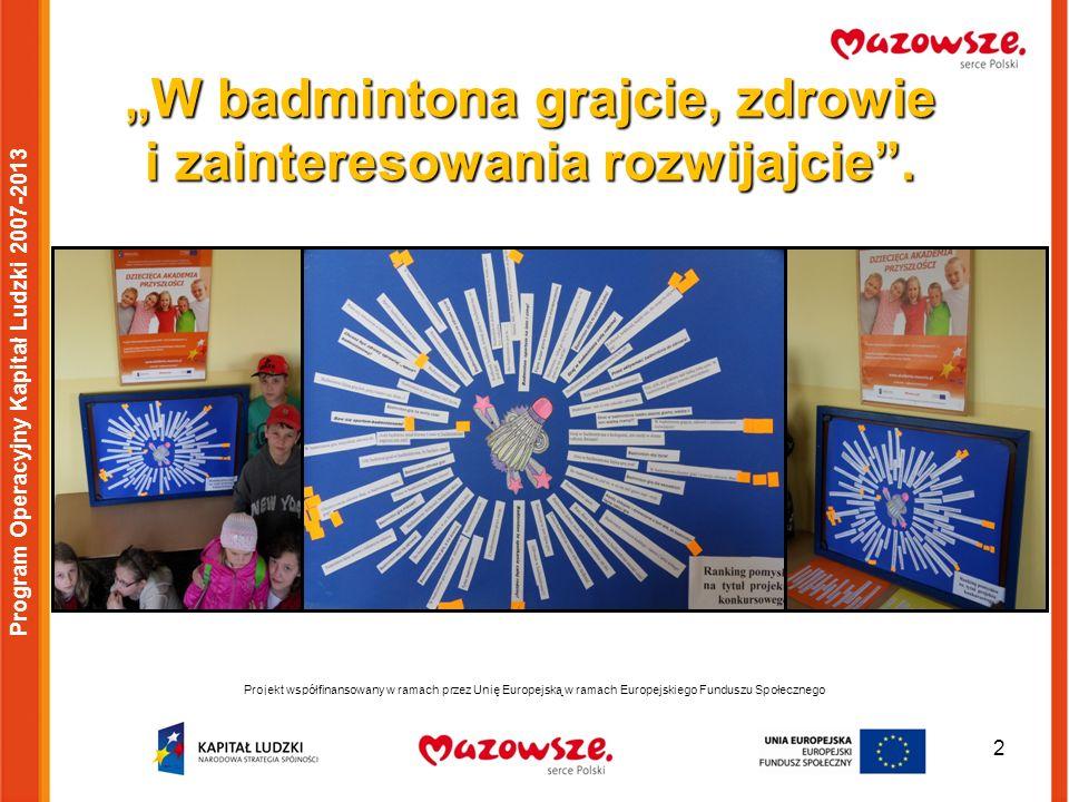 3 Program Operacyjny Kapitał Ludzki 2007-2013 HISTORIA BADMINTONA Badminton jest grą bardzo starą.