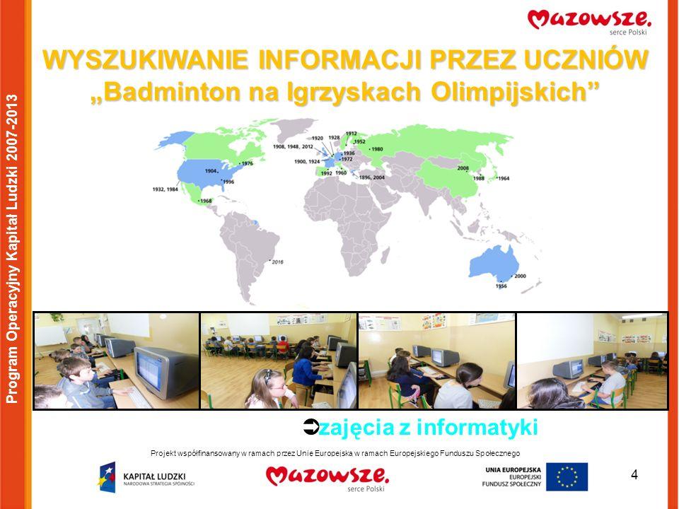 5 Projekt współfinansowany w ramach przez Unię Europejską w ramach Europejskiego Funduszu Społecznego Program Operacyjny Kapitał Ludzki 2007-2013 POZNAJEMY SŁOWNICTWO UŻYWANE W BADMINTONIE: zajęcia z języka angielskiego zajęcia z języka polskiego