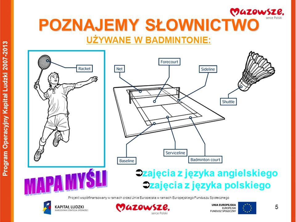 6 Projekt współfinansowany w ramach przez Unię Europejską w ramach Europejskiego Funduszu Społecznego Program Operacyjny Kapitał Ludzki 2007-2013 Zabawy i gry doskonalące umiejętności gry w badmintona zajęcia sportowo-wychowawcze