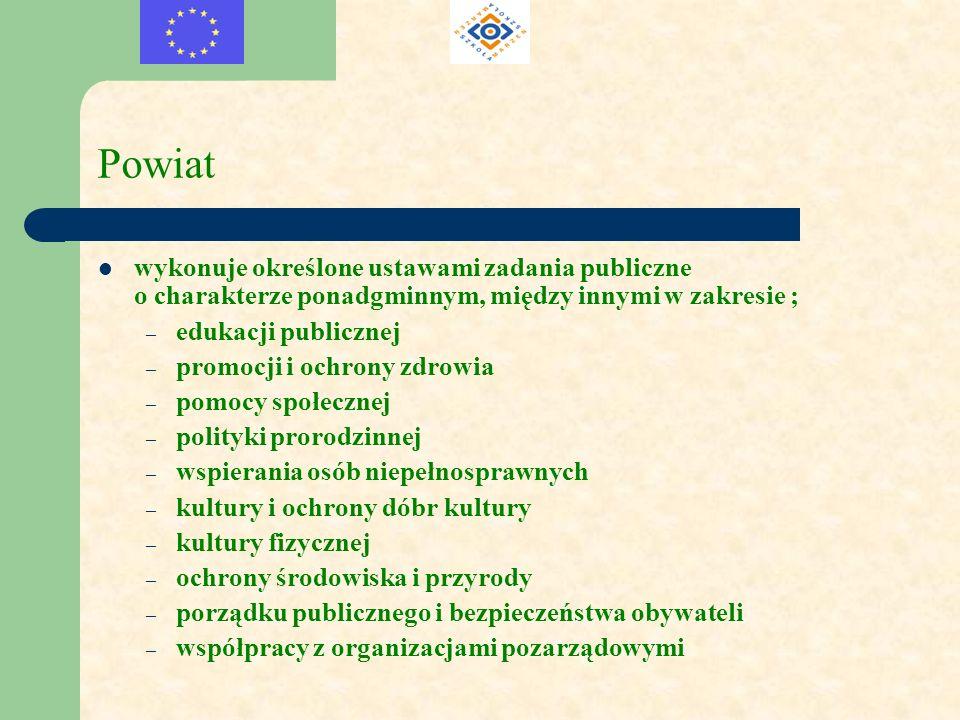 Powiat wykonuje określone ustawami zadania publiczne o charakterze ponadgminnym, między innymi w zakresie ; – edukacji publicznej – promocji i ochrony