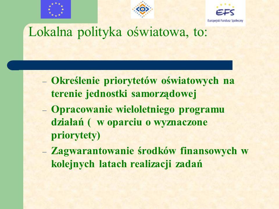 Lokalna polityka oświatowa, to: – Określenie priorytetów oświatowych na terenie jednostki samorządowej – Opracowanie wieloletniego programu działań (