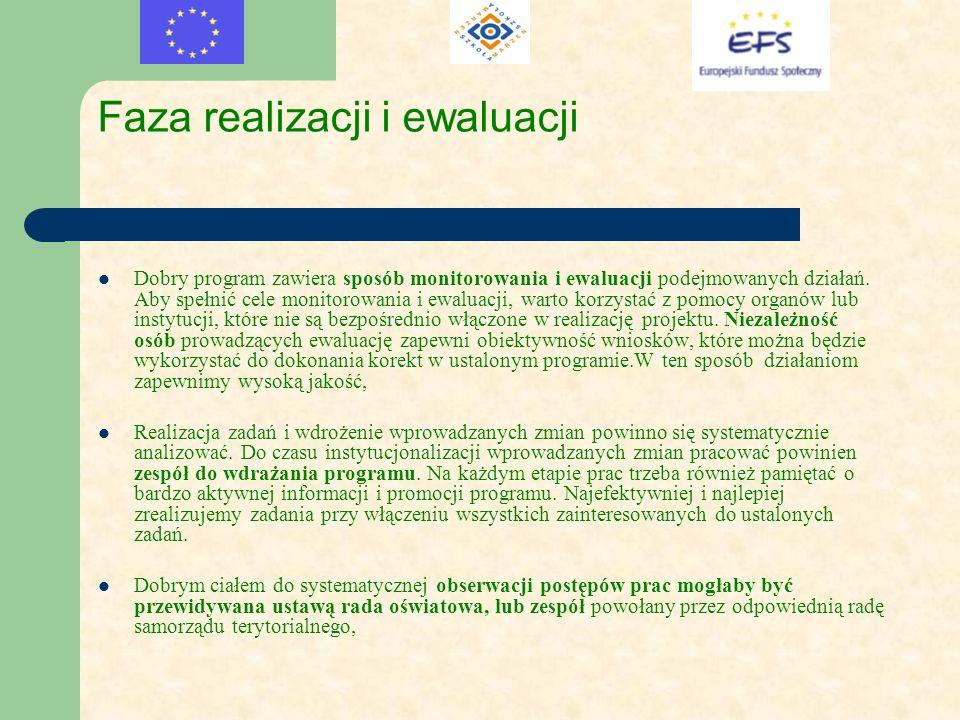 Faza realizacji i ewaluacji Dobry program zawiera sposób monitorowania i ewaluacji podejmowanych działań. Aby spełnić cele monitorowania i ewaluacji,
