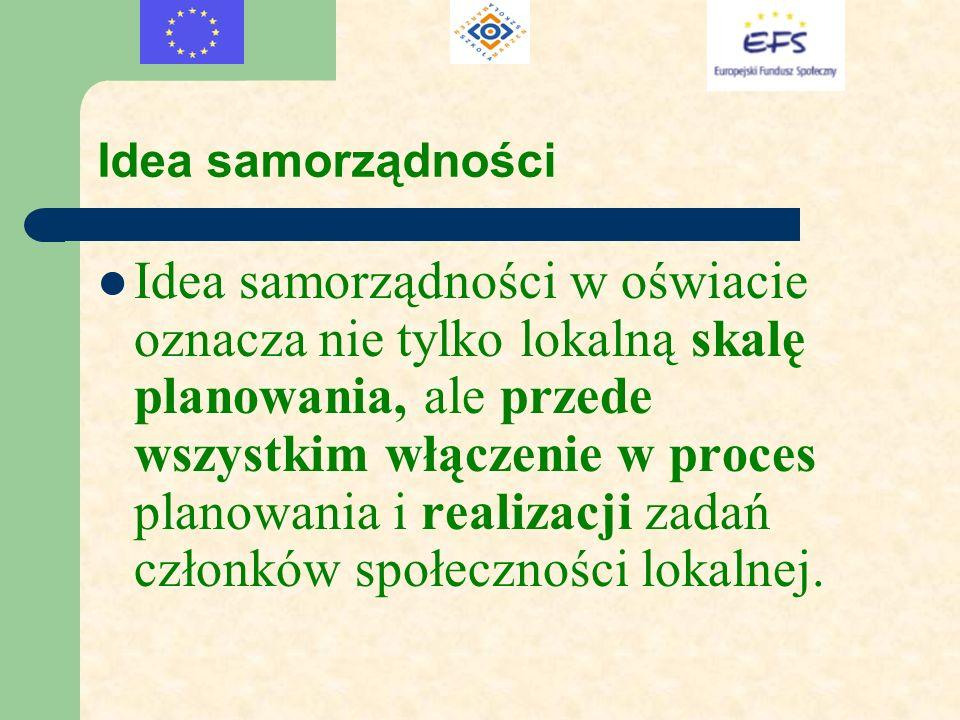 Idea samorządności Idea samorządności w oświacie oznacza nie tylko lokalną skalę planowania, ale przede wszystkim włączenie w proces planowania i real