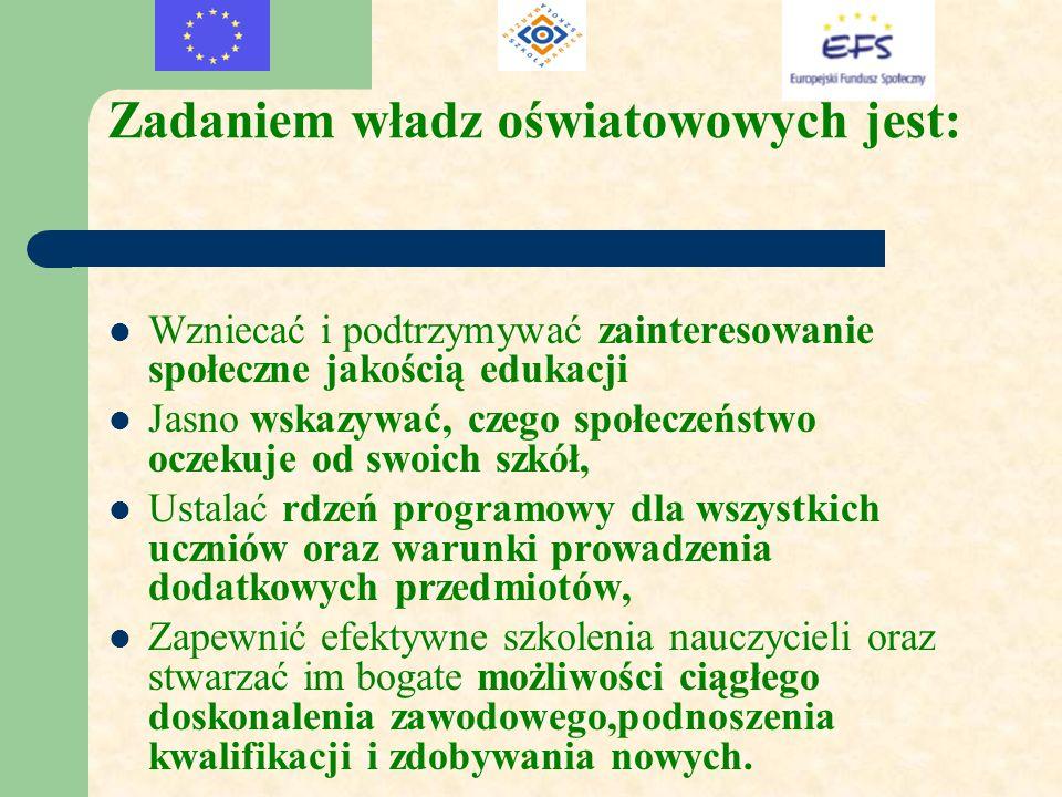 Zadaniem władz oświatowowych jest: Wzniecać i podtrzymywać zainteresowanie społeczne jakością edukacji Jasno wskazywać, czego społeczeństwo oczekuje o