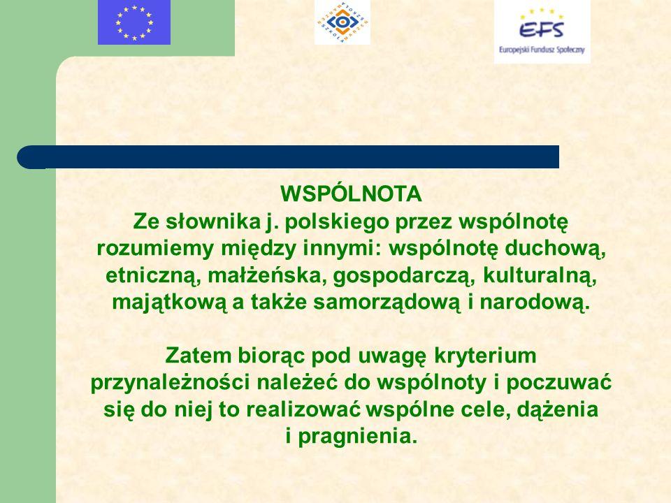 WSPÓLNOTA Ze słownika j. polskiego przez wspólnotę rozumiemy między innymi: wspólnotę duchową, etniczną, małżeńska, gospodarczą, kulturalną, majątkową